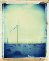 Palm Springs, CA (moominsean) Tags: california morning mamiya polaroid desert palmsprings windmills 100mm monsoon instant 28 universal turbines type108 expired012000