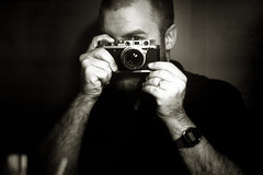 The man with waxen wings (O9k) Tags: zorki portrait selfportrait man film analog mirror photographer hc110 rangefinder casio analogue 135 wideopen selfdeveloped jupiter8 leicacopy homedeveloping sovietcamera sovietlens rolleiretro80s