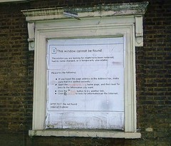 window cannot be found (helenoftheways) Tags: windows london freeassociation buildings graffiti decay derelict internetexplorer newcross windowcannotbefound sevenindustries http707 urbanhumour