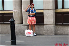 714 (roll the dice) Tags: uk urban man london art classic westminster fashion diamonds shopping hair iceland costume funny candid clown nuts drinking streetphotography stranger collection cap unknown warrior coventgarden shorts colourful mad fancydress westend unaware regular wc2 londonist