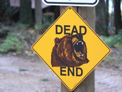 Dead End Gizzly Bear sign at Glacier National Park (SmithPRO and The Lemonade Digest) Tags: bear park lake canada mountains river montana ranger hiking united border glacier national states grizzly van rv volunteer campground patrol