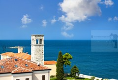 Adriatic view... (Sebastian Condrea) Tags: old city blue sea sky urban house building tower church water horizontal architecture landscape religious outdoors photography town europe day cityscape small religion croatia calm steeple copyspace idyllic adriatic croatian porec istria colorimage buildingexterior builtstructure middistance