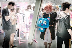 Everyone's Got Something To Hide Except Me and My Blue Happy Cat (Corbicus Maximus) Tags: happy blue cat fairy tail tails olympia kensington london bag toy cuddly hyper japan 2016 lightroom pink hair legs hairy nikon d7000