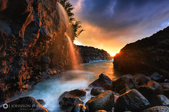 Queens Bath Waterfall Sunset (jjohnsonphotography1) Tags: kauai hawaii princeville queens bath waterfall sunset sunrise