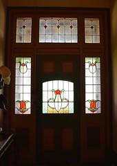 Yurunga homeastead door / stained glass, Rainbow, Victoria (contemplari1940) Tags: stainedglass yurunga custstreet albertgcust edwardian rainbow staircase basement wimmera pioneer underground castiron pressedsteel