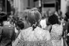 Got ink? (kogh65) Tags: new york photography photo travel art 2016 nyc ny street black white leica m mono tone city outdoor life people depth field reportage young kogh candid camera focus pov picture 50mm image manhattan artist kogh65 tattoo ink girl