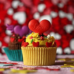 C for Cup Cakes [Explored] (Chandana Witharanage) Tags: srilanka macromondays thefirstletterofmyname macrophotography cupcakes hearts stars bokeh background love foodphotography red yellow