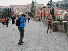 Explicit Monuments or Karlův Most + Blonde in Underwear= Being Czexy (GinoDecubber (-ish)) Tags: czech republic prague karlův most charles bridge blonde underwear explicit monuments photography girl perhaps slightly anorectic jewish deportations christ turning away