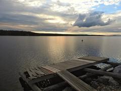 Broken dreams (KaarinaT) Tags: pier dock brokenpier broken brokendock lake lightpeakingthroughclouds goodlight serene evening summer