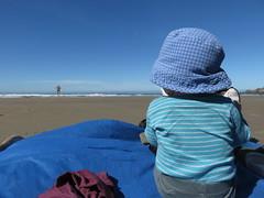 watching his dad run towards the ocean (carolyn_in_oregon) Tags: oregon pacificocean ecolastatepark coast crescentbeach jacob al allie