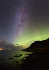The Milky Way and Aurora at the South Coast, Iceland (jonrrr) Tags: aurora borealis northern light winter september canon 5dm3 jn hilmarsson landscape nature green iceland sland south coast milky way vetrarbraut norurljs sea sjr suurland sky cloud