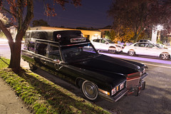 1972 Cadillac Ambulance (Curtis Gregory Perry) Tags: portland oregon 1972 1971 cadillac hearse ambulance black station wagon night longexposure 11th avenue death cemetery mortician undertaker nikon d800e pdx northwest halloween
