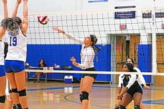 IMG_5471 (SJH Foto) Tags: net battle spike block action shot jump midair girls volleyball high school lancaster mennonite pa pennsylvania team tween teen teenager varsity