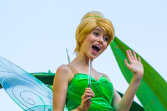 Tinker Bell (EatThisLight) Tags: disney disneyland themepark magic parade disneyparade soundsational colorful green smile lovely california anaheim girl tinkerbell fairy pixie neverland pixiehollow wings pixiedust disneyfairies blonde character facecharacter peter pan