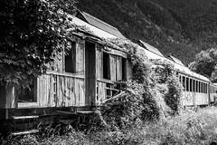 ghost train (Rainer ) Tags: estacioninternacionaldecanfranc bahnhof railwaystation eisenbahn ghosttrain waggons vagones espaa spanien spain espagne pyrenen pyrenees pirineos aragon provinzhuesca canfranc sw bw bn sommer2016 rainer