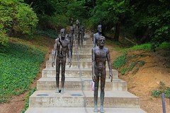 they are all lies darling (miriam-f) Tags: park man green up stairs amazing republic close czech prague five statues saturation half