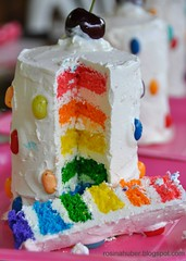 Rainbow cake (Rosina Huber) Tags: birthday blue red party food orange green girl yellow cake dessert fun outdoors rainbow purple princess nine violet mini birthdayparty birthdaygirl jellybelly individual layered familytime italianmeringue