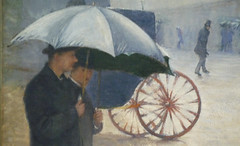 Gustave Caillebotte, Paris Street; Rainy Day, y, detail with rear wheels