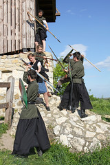 Baranta - tower attack 6 (Romeodesign) Tags: old tower castle forest climb team hungary shot action spears traditional hill attack battle medieval bow scouts sword historical aim raid fighters archer offensive shields bowman spear womans solymar 550d baranta