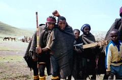 Lesotho, South Africa 2000 002 (Dorsetized) Tags: friends landscape guitar african gang together remote wilderness localcustom