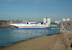 Express Departure (dhcomet) Tags: brittany harbour fast catamaran portsmouth normandie express ferries