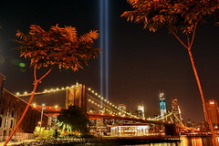 9-11-12 BROOKLYN BRIDGE (kevinh_photos) Tags: nyc newyorkcity blue sky brooklyn america lights freedom memorial manhattan worldtradecenter 911 nypd wtc september11 statenisland neverforget fdny tributeinlights papd kevinhphotos