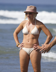Stylin' with the hat and white bikini