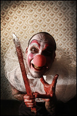 El Payaso (Lilia Pereira PH) Tags: vienna beauty look portraits canon dark book blood movement eyes accident seven psycho morbid horror knives twisted activists homicide act weapons victims attraction serial transformations violent mua editions viennese controversial makeupartist murderers culpable unhemlich victimizers