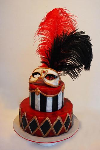 Mardi Gras Mask Wedding Cake - a photo on Flickriver