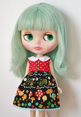 Polkadot mushroom blythe doll dress