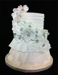 Wedding Cake (Diana Sella Sugarcraft & Cake Designer) Tags: white silver buttons weddingcake fondant gumpasteflowers gumpastebuttons