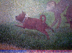 Seurat, A Sunday on La Grande Jatte—1884, detail with running dog