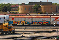 Lies Dekor (The Braindead) Tags: art minnesota train bench photography graffiti interesting flickr flat painted lies tracks minneapolis twin rail explore most beyond trans pannel reefer the braindead cites flickrs dekor cryo thebraindead