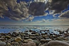 The Shore (jillyspoon) Tags: blue sea beach nature water clouds canon coast scotland seaside rocks view cloudy rocky shore drama galloway irishsea dumfriesandgalloway monreith 60d pebbley southwestscotland canon450dukusers