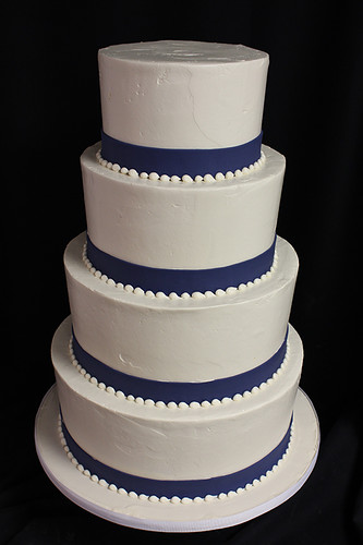 Simple Buttercream Wedding Cake with Navy Ribbon Trim