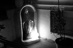 Virgin Mary never sleeps (Violentz) Tags: light bw statue night shadows availablelight thevirginmary thevirginknownasmary virgnmary