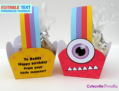 PDF Printable Monster Snack Boxes/Gift Baskets With Editable Text Features - Personalize Yourself (Cutezville Printables) Tags: birthday blue red cute halloween monster yellow kids digital paper fun bigeyes design diy basket purple sweet printer drawing flag teeth craft flags gift snack popcorn download boxes pdf ideas handles eyeballs papermaking personalize giftbox cardstock printable cutesville editable personalise papergoods paperelements cutezville