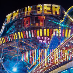 wonder bolt thunder wheel (Barry Yanowitz) Tags: nyc newyorkcity longexposure ny newyork 6x6 film brooklyn mediumformat coneyisland amusement fuji ride 120film scanned ferriswheel amusementpark rides filmcamera amusements wonderwheel thunderbolt nycity amusementparks 718 rolleiflexmxevs denoswonderwheelamusementpark fujichromet64