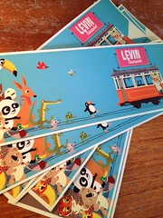 Levin Toussaint (bagilla2000) Tags: blue animals illustration train vintage golden fifties birth tram books announcement card childrens