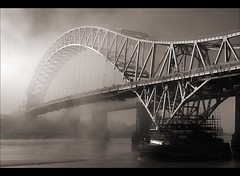 The bridge to nowhere..... (Chrisconphoto) Tags: blackandwhite bw mist timeless runcorn merseyside widnes goodlight runcornbridge intonothing greatconditions