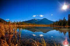 Vermilion Lakes (Kasia Sokulska (KasiaBasic)) Tags: travel sky lake canada mountains fall landscape nationalpark alberta banff rockymountains vermilionlakes