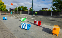 Baa Baa What the F@#% Sheep (Steve Taylor (Photography)) Tags: animal sheep art sculpture streetart road street blue green red fun plastic newzealand woman girl lady nz southisland canterbury christchurch cbd city tree cycle bicycle bike cyclist cloud zebracrossing stripes