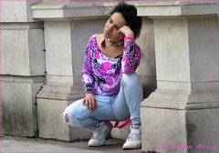 `1730 (roll the dice) Tags: london bakerstreet sherlock w1 westend sexy pretty girl hoop lips open pose mad sad funny fashion shops shopping model denim jeans ripped londonist crack bum dirty people natural stranger portrait candid streetphotography uk art classic urban unaware unknown canon tourism piercing tattoo colour purple happy society