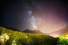 Milky Way in Brianon (Ilia Sibiryakov) Tags: briancon france alps night mountains milkyway milky way trees sky light pollution galaxy landscape