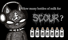 Kiki Le chat: How many bottles? (krisalidavzla) Tags: kiki chat gato cat blackcat metal rock hardrock heavymetal dark occult milk leche bottle botella music musique musica audifonos