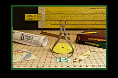 Enginering Illustration ...Left section (Topeeka) Tags: compass sliderule engineering drafting technology