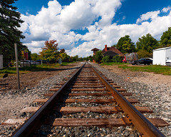 Ypsilanti Depot track (hz536n/George Thomas) Tags: riverside park orphans car show 2016 cs5 canon canon5d ef1740mmf4lusm michigan september summer ypsilanti carshow copyright tracks railroad sky depot riversidepark orphanscarshow