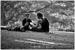 Sometimes, reaching out and taking someone's hand is the beginning of a journey.  At other times, it is allowing another to take yours. (Pics4life.nl off and on next week) Tags: together cards man woman park september bokeh monochrome blackwhite black white light hair cardplay wageningen arboretum sunday freedom life aandacht vriendschap