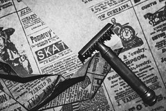 Think for Ourselves (Little Hand Images) Tags: newspaper razor doubleedgebladerazor vintagerazor shaving typography