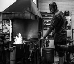 Little Duck Forge, Eastney. (Sophtfocus) Tags: fujifilm sparks anvil forge blacksmith metalwork flames heat fuji xt1 xt2 hammer